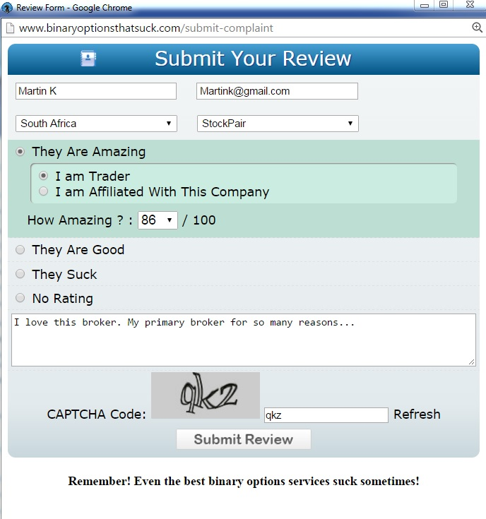 BOTS submit review form