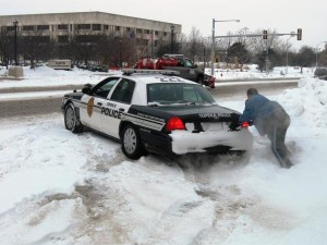 Police in the Snow