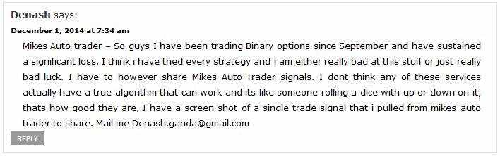 Denash Binary Options Auto Experience