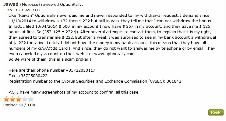 OptionRally gets some bad customer reviews