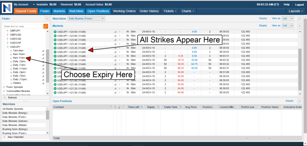 How to trade with nadex step 3
