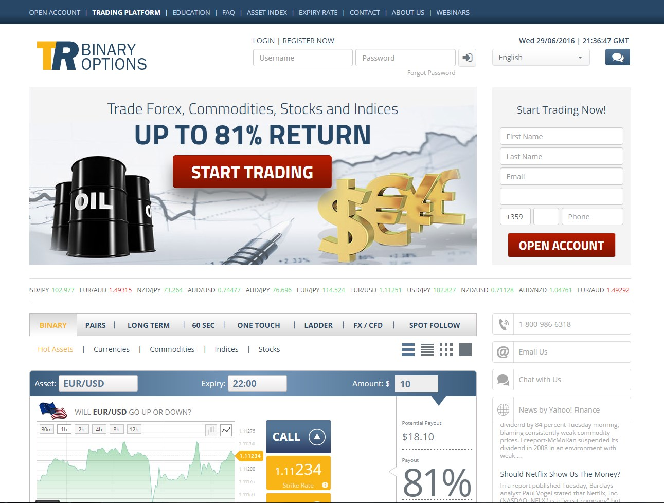 Binary trade option