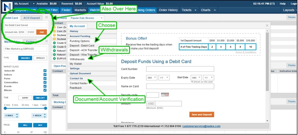 Binary options account types
