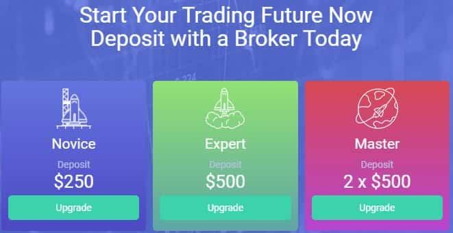 FXMasterBot deposit with a broker